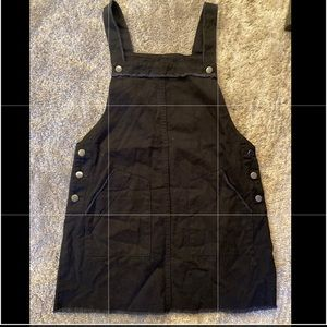Forever 21 frayed raw hem overall style dress L